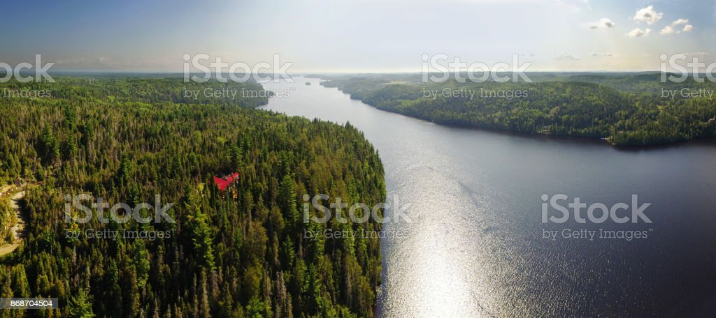 Aerial panoram view of the Saguenay river in Quebec, Canada stock photo