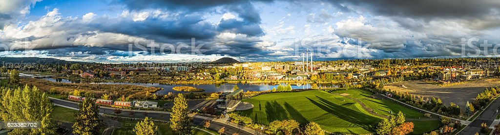 Aerial Panorama - Bend, Oregon stock photo