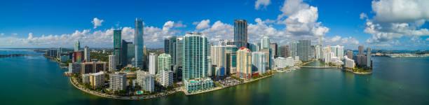 Aerial panorama Brickell Miami FL bayfront image stock photo