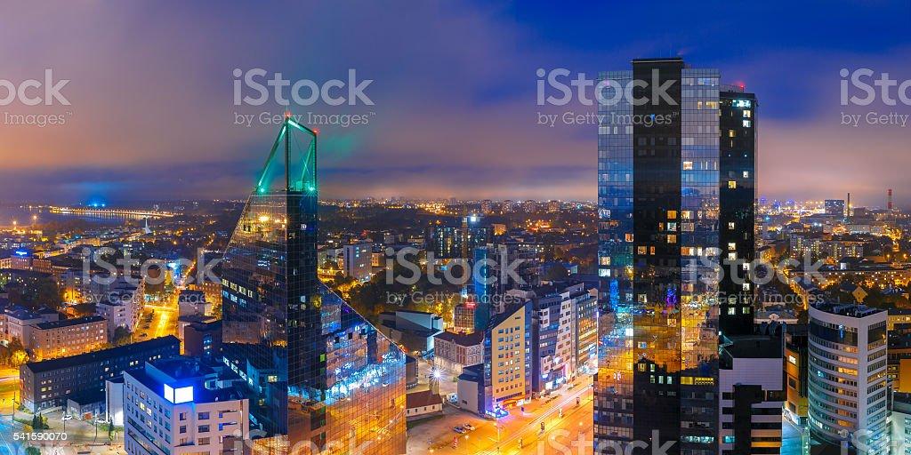 Aerial panorama city at night, Tallinn, Estonia stock photo