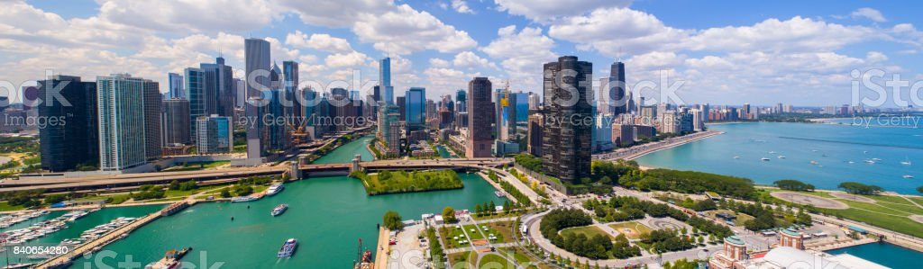 Aerial panorama Downtown Dhicago summer 2017 stock photo