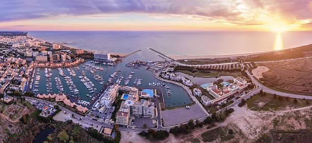 Aerial. Panorama from the sky, tourist resort Vilamoura. stock photo