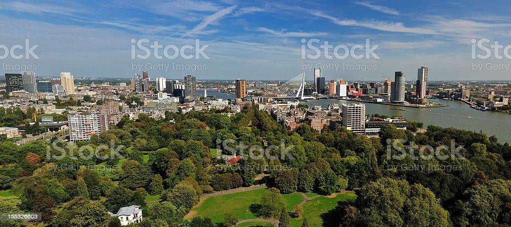 aerial panorama image of  Rotterdam royalty-free stock photo