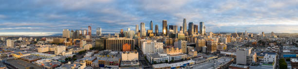 aerial panorama los angeles downtown all logos removed image - est foto e immagini stock