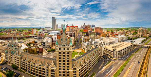 Aerial panorama of Albany, New York Aerial panorama of Albany, New York downtown. Albany is the capital city of the U.S. state of New York and the county seat of Albany County albany county new york state stock pictures, royalty-free photos & images