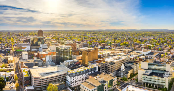 Aerial panorama of Allentown, Pennsylvania skyline Aerial panorama of Allentown, Pennsylvania skyline on late sunny afternoon. Allentown is Pennsylvania's third most populous city. pennsylvania stock pictures, royalty-free photos & images