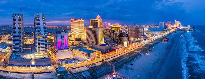 Aerial panorama of Atlantic City at dusk