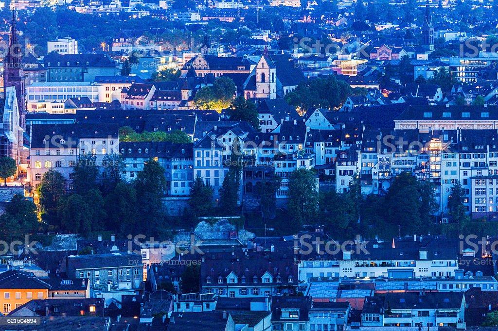 Aerial panorama of Basel Lizenzfreies stock-foto