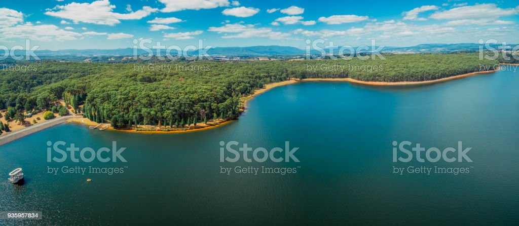 Aerial Panorama of beautiful lake and forest in Victoria, Australia stock photo