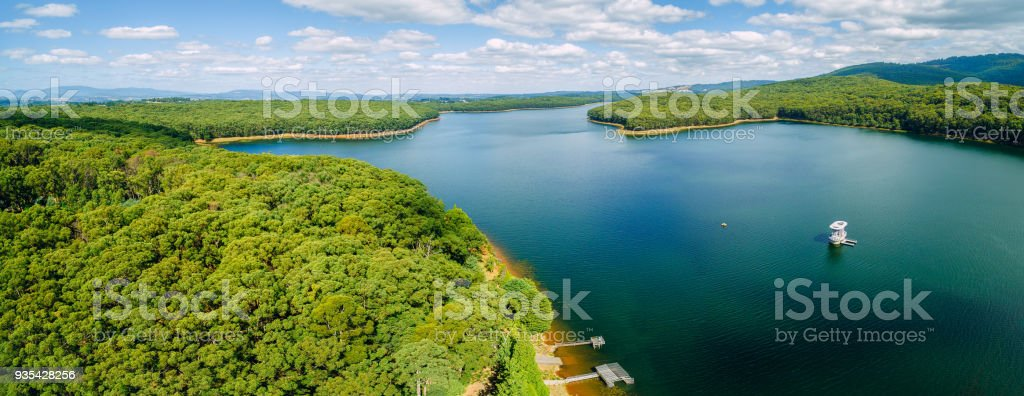 Aerial panorama of beautiful Silvan Reservoir lake and forest in Melbourne, Australia stock photo