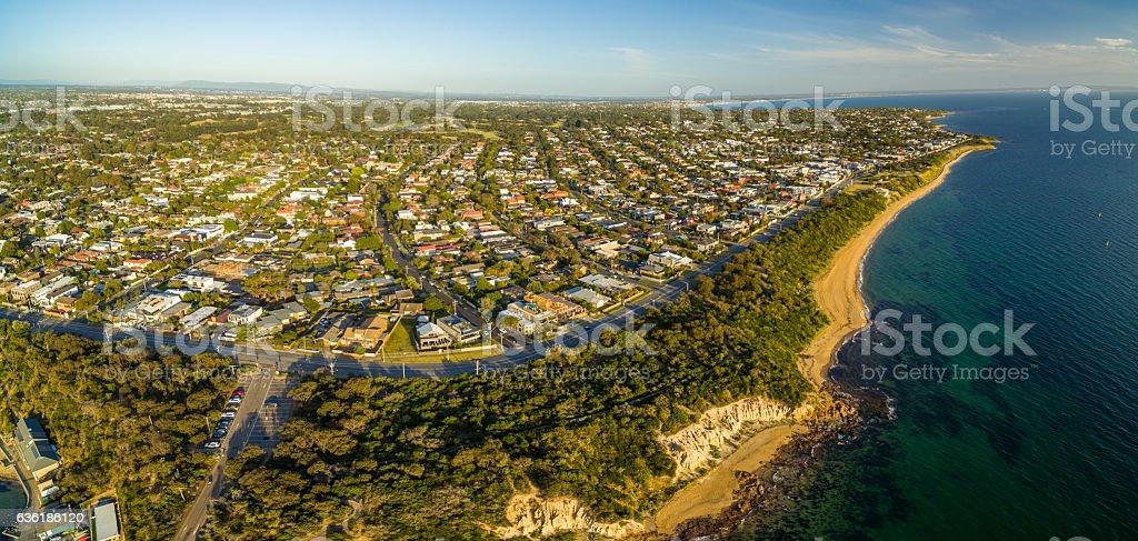 Aerial panorama of Black Rock suburb, Melbourne, Australia stock photo