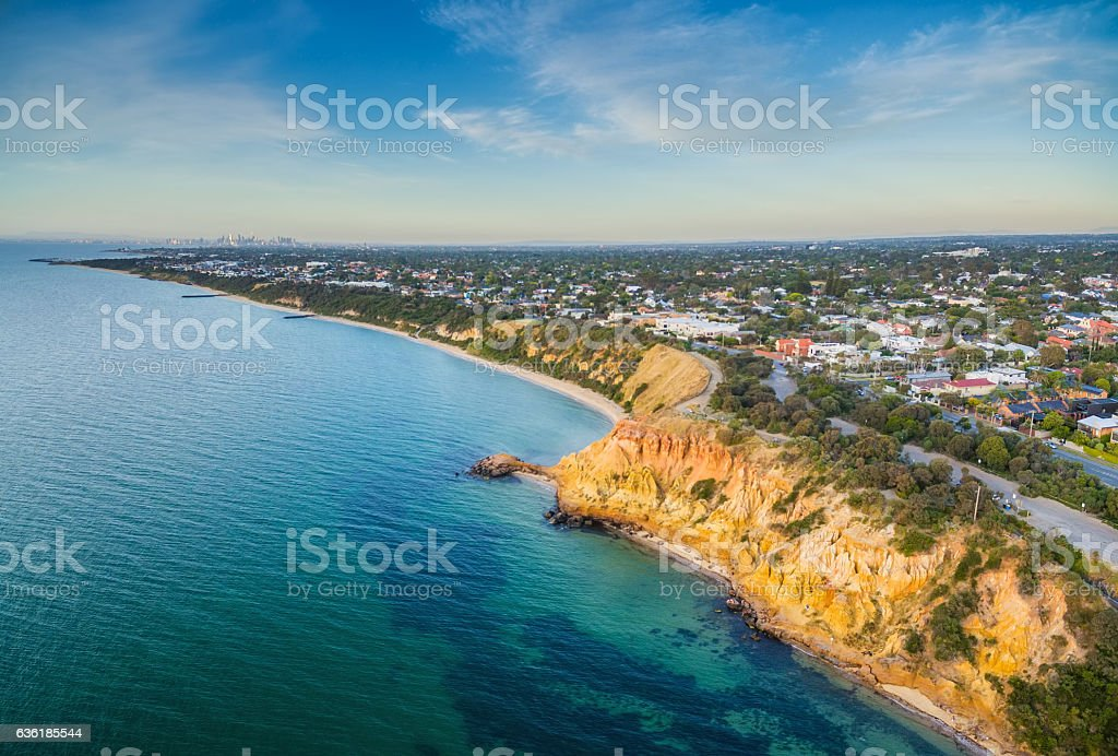 Aerial panorama of Black Rock suburban area and colorfoll cliffs stock photo