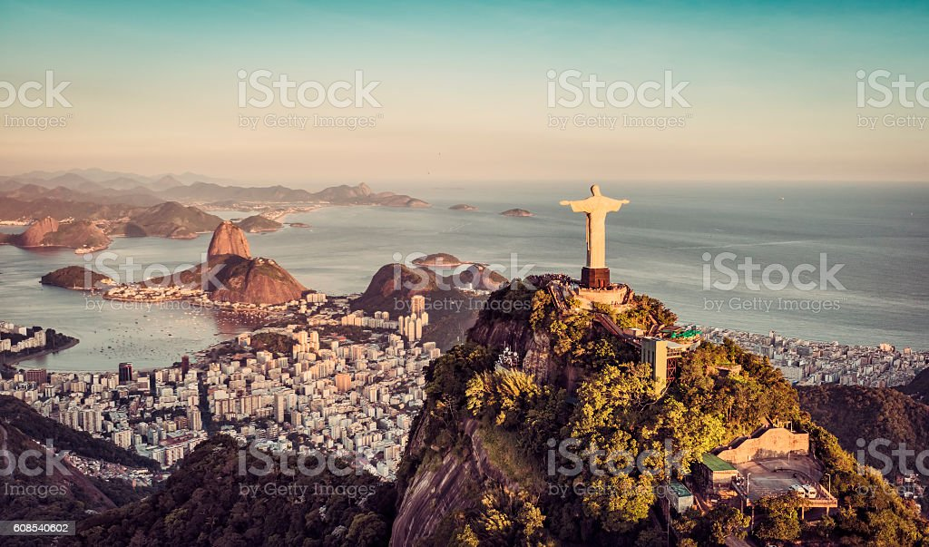 Aerial panorama of Botafogo Bay , Rio De Janeiro stock photo