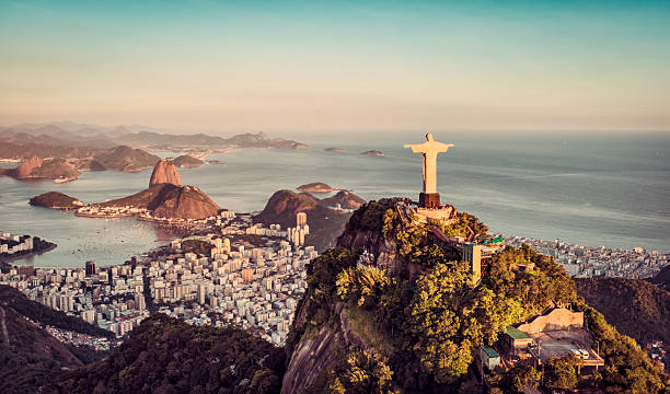 Aerial panorama of Botafogo Bay , Rio De Janeiro Aerial panorama of Botafogo Bay and Sugar Loaf Mountain, Rio De Janeiro, Brazil. land feature stock pictures, royalty-free photos & images