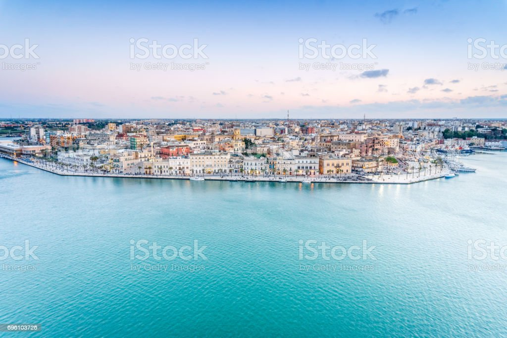 Aerial panorama of Brindisi, Puglia, Italy stock photo