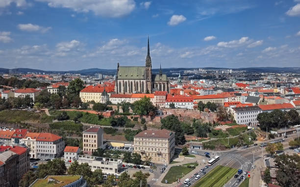 Aerial panorama of Cathedral of St. Peter and Paul and old town Brno, South Moravia, Czech Republic. Brno Cathedral of St. Peter and Paul brno stock pictures, royalty-free photos & images