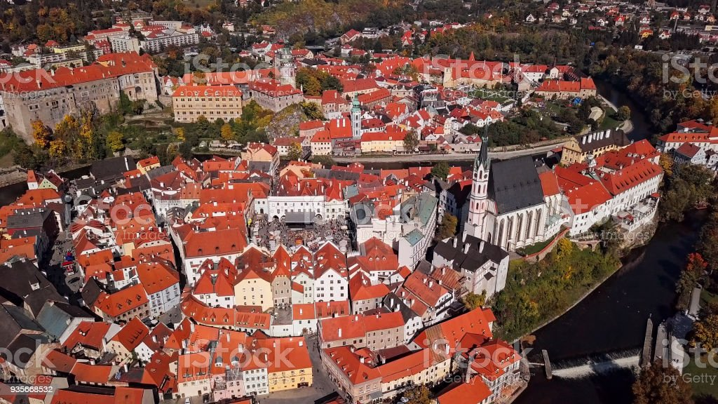 Aerial panorama of Cesky Krumlov, South Bohemian Region of the Czech Republic stock photo