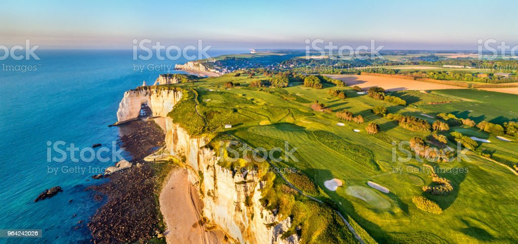 Aerial Panorama Of Chalk Cliffs At Etretat Normandy France Stock