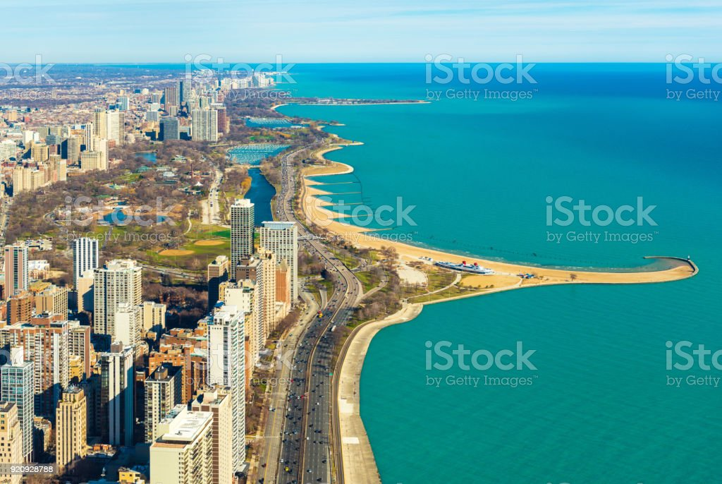 Aerial panorama of Chicago and Lake Michigan. North Avenue beach. Illinois, USA stock photo