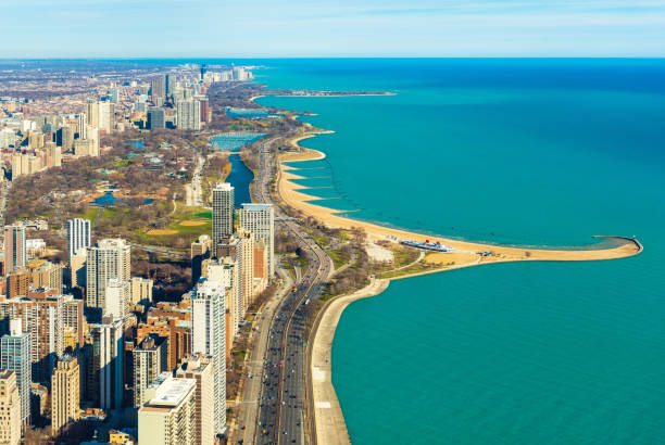 aerial panorama of chicago and lake michigan. north avenue beach. illinois, usa - lake michigan stock pictures, royalty-free photos & images