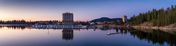 Aerial Panorama of Coeur d'Alene, Idaho at Sunset