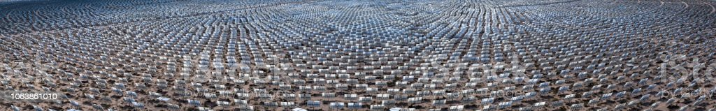 Aerial Panorama of Concentrated Solar Thermal Plant stock photo
