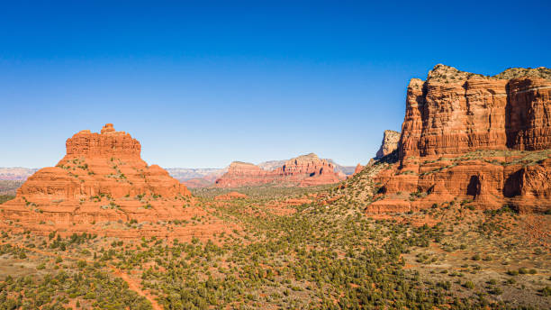 Aerial panorama of Courthouse Butte in Sedona, Arizona stock photo