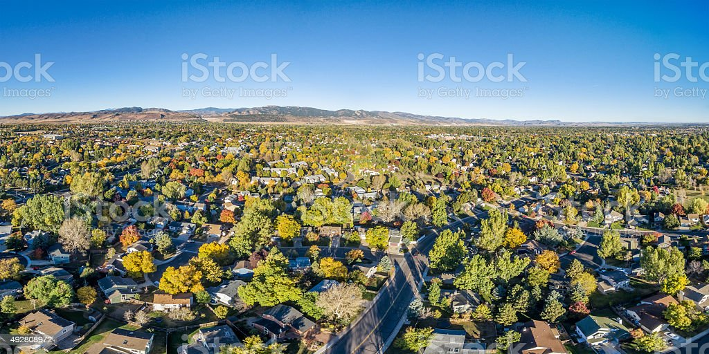aerial panorama of Fort Collins stock photo