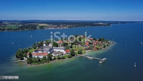 Aerial view of Frauenchiemsee (Fraueninsel), Germany