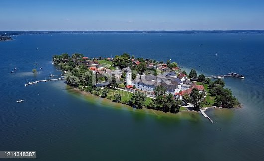 istock Aerial panorama of Frauenchiemsee island (Women's Island) in Chiemsee lake, Bavaria, Germany. 1214348387