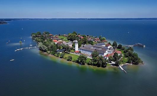 Aerial panorama of Frauenchiemsee island (Women's Island) in Chiemsee lake, Bavaria, Germany.