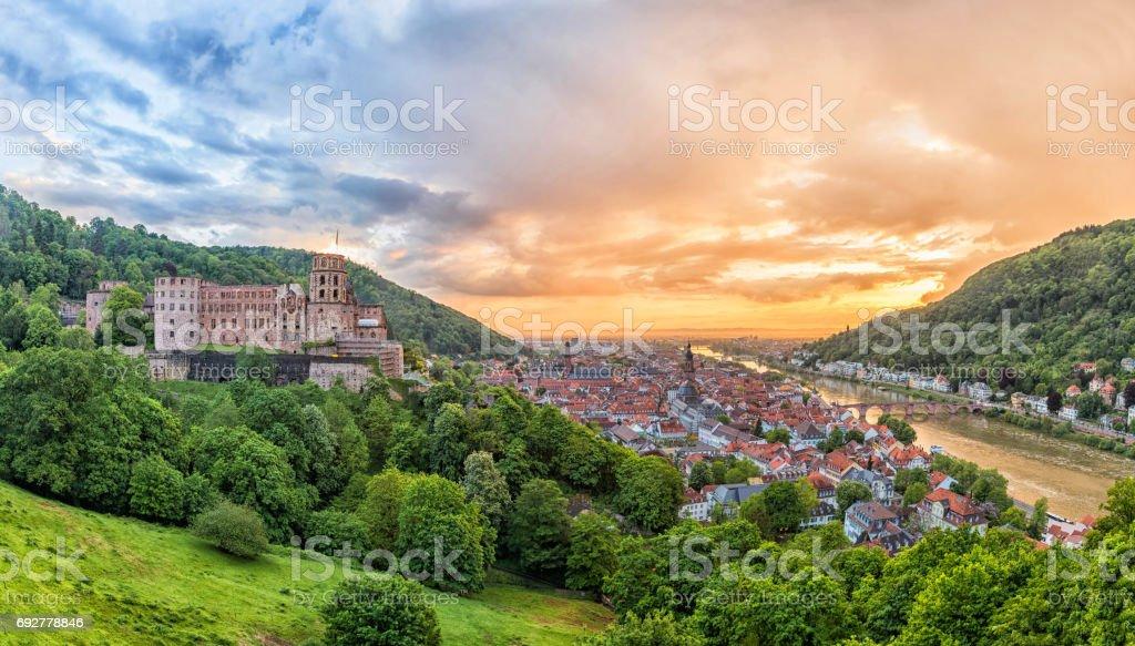 Aerial Panorama von Heidelberg auf dem sunset – Foto