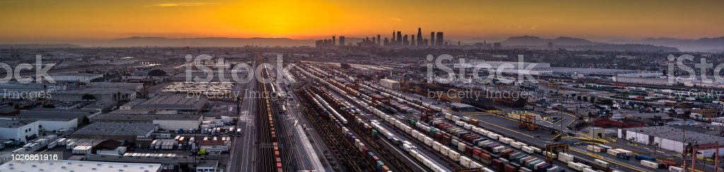 Aerial Panorama of Intermodal Freight Yard in Vernon, CA with DTLA Skyline stock photo