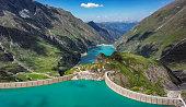 Panorama of Stausee Mooserboden Dam near Kaprun, Austria
