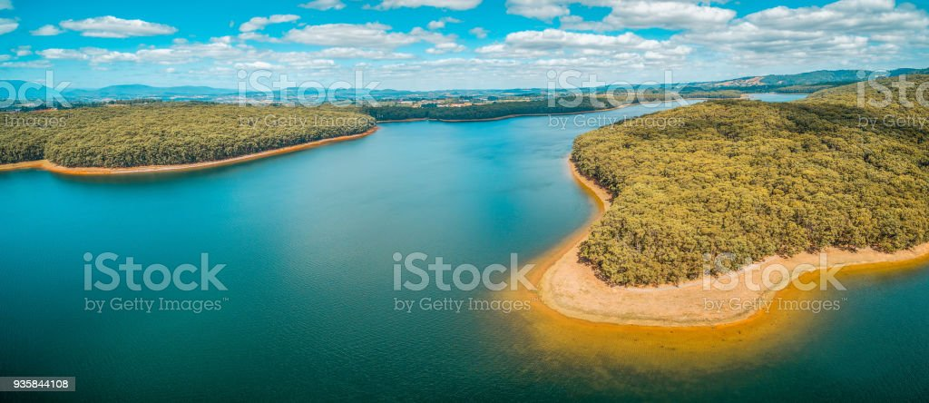 Aerial panorama of lake and forest in Australia stock photo