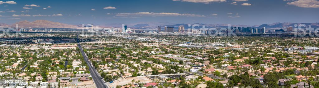 Aerial Panorama of Las Vegas Looking East stock photo
