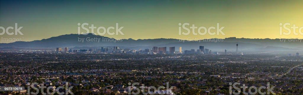 Aerial Panorama of Las Vegas Looking West stock photo