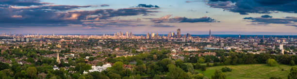 Aerial Panorama of London Skyline and Hampstead Heath at Sunset