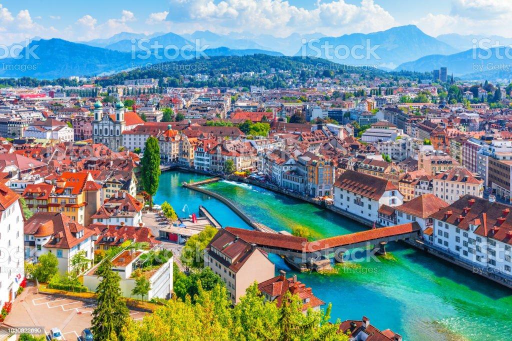 Aerial Panorama Luzern, Schweiz – Foto