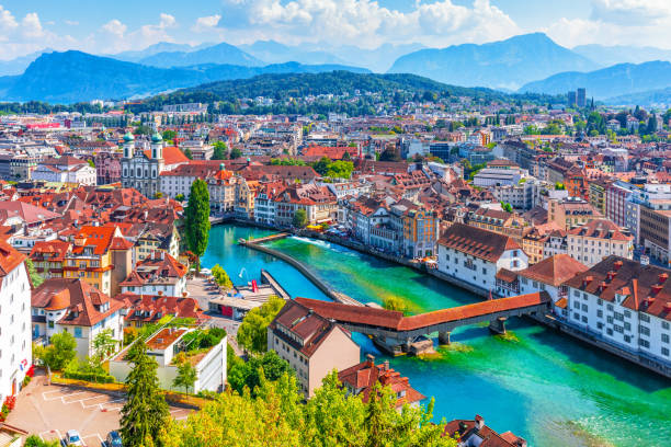 aerial panorama of lucerne, switzerland - lucerne stock pictures, royalty-free photos & images