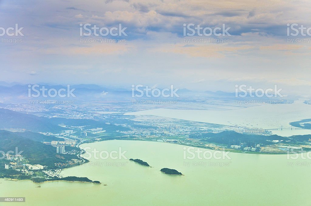 Aerial panorama of Macau in the sunshine morning royalty-free stock photo