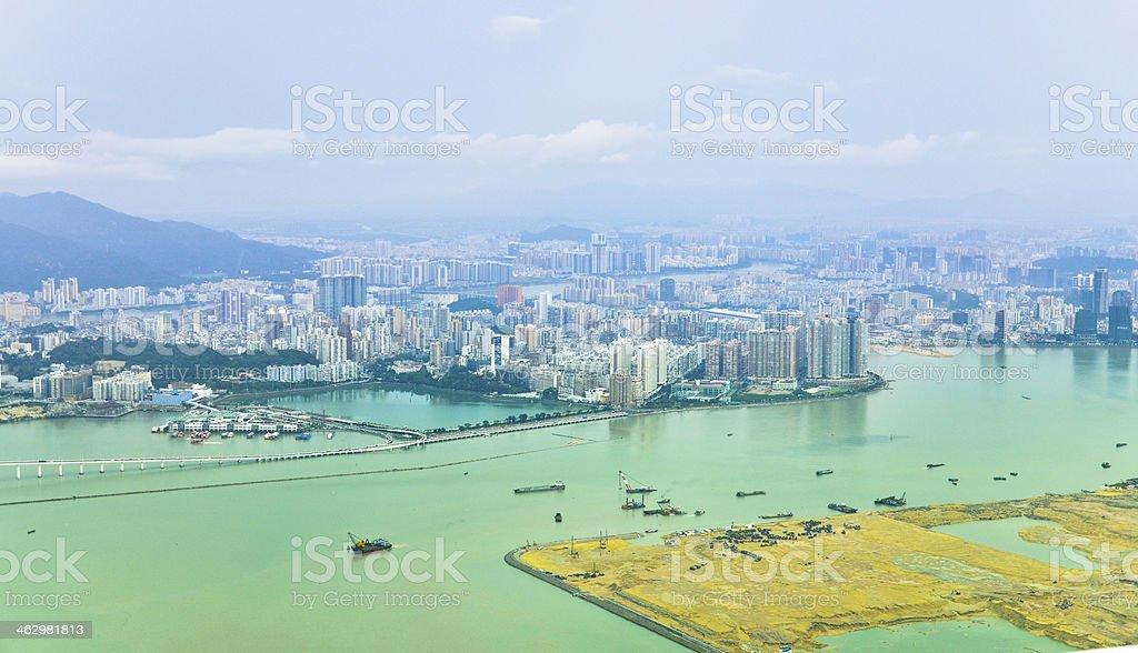Aerial panorama of Macau in the sunshine morning royalty-free stock photo