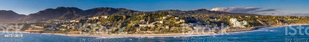 Aerial Panorama of Malibu from Over the Ocean stock photo
