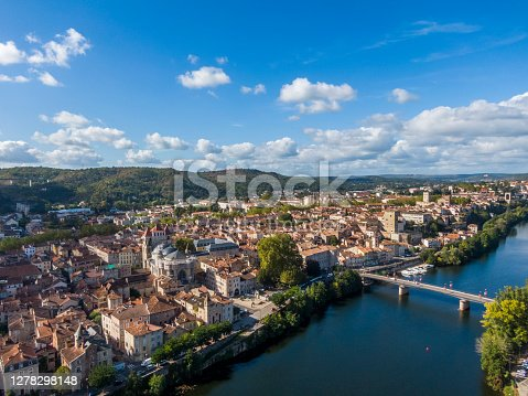 istock Aerial panorama of medieval houses in the old town of Cahors, France 1278298148