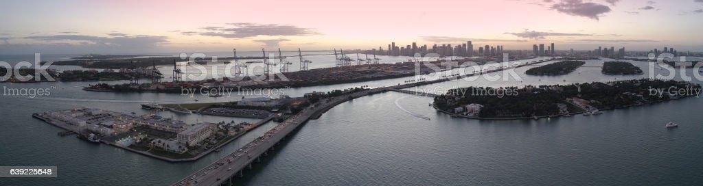 Aerial panorama of Miami at sunset stock photo