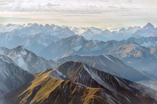 Aerial panorama of mountain peaks