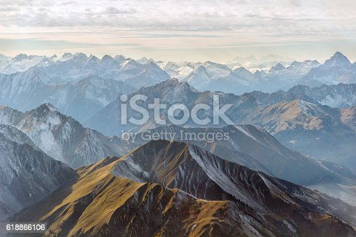 istock Aerial panorama of mountain peaks 618866106