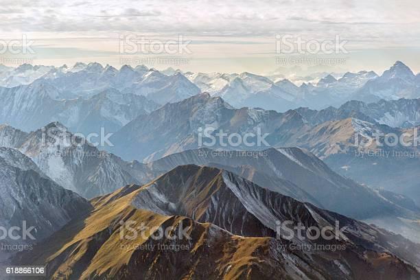 Photo of Aerial panorama of mountain peaks