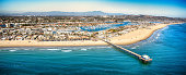 The northern Orange County California city of Newport Beach shot from an altitude of about 1500 feet over the Pacific Ocean.