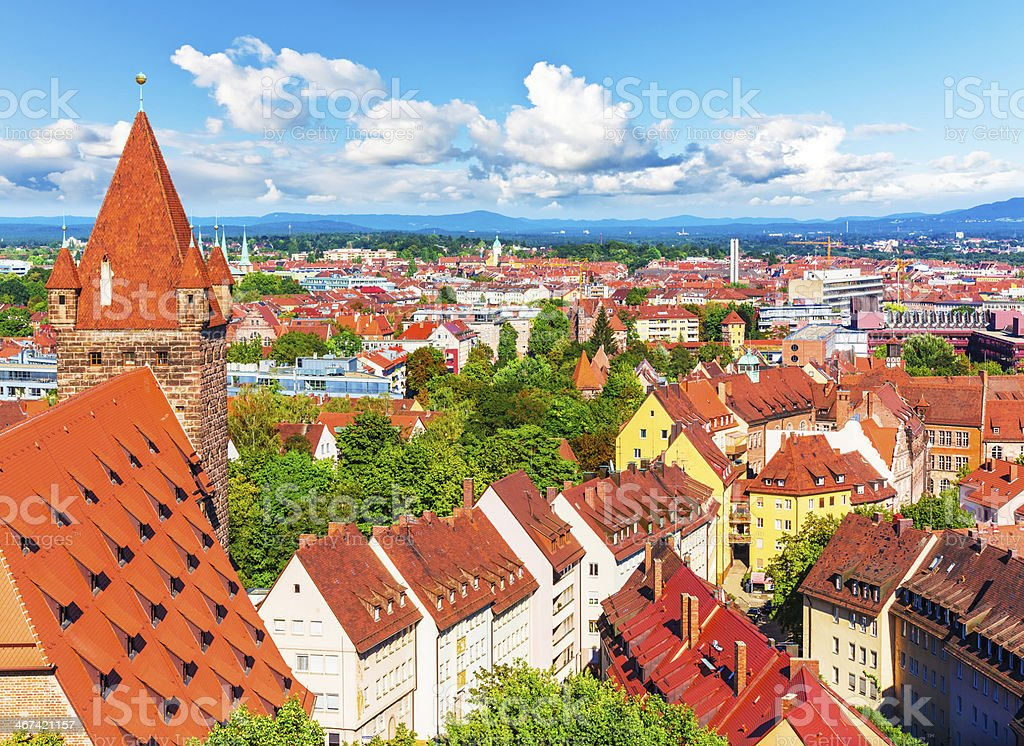 Aerial panorama of Nuremberg, Germany stock photo